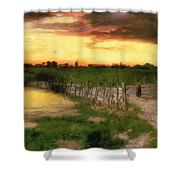 The Old Bridge Over Hook Pond Shower Curtain by Thomas Moran