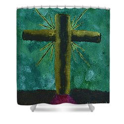 Shower Curtain featuring the painting The Old Rugged Cross by Donna Brown