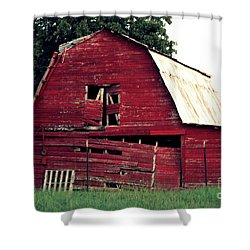Shower Curtain featuring the photograph The Ole Red Barn by Kathy  White