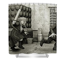 The Perfect Couple Shower Curtain by Jutta Maria Pusl