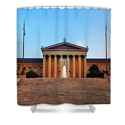 The Philadelphia Museum Of Art Front View Shower Curtain by Bill Cannon