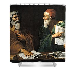 The Philosophers Shower Curtain by Master of the Judgment of Solomon