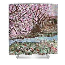 The Pink Tree Shower Curtain