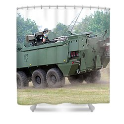 The Piranha IIic Of The Belgian Army Shower Curtain by Luc De Jaeger