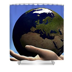 The Planet Earth Is Held In Caring Shower Curtain by Corey Ford