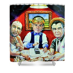 The Poker Game Shower Curtain by Hanne Lore Koehler