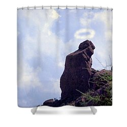 The Praying Monk With Halo - Camelback Mountain - Painted Shower Curtain by James BO  Insogna