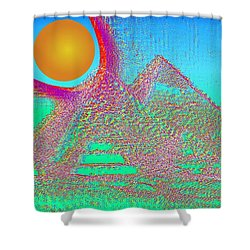 The Pyramids Shower Curtain by Helmut Rottler