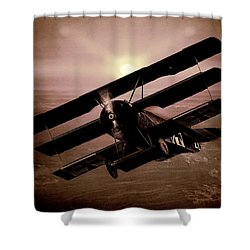 Shower Curtain featuring the photograph The Red Baron's Fokker At Sunset by Chris Lord