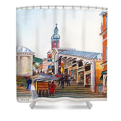 The Rialto Bridge Over The Grand Canal In Venice Italy Shower Curtain by Dai Wynn
