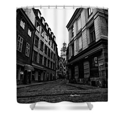 The Right Way Stockholm Shower Curtain by Stelios Kleanthous