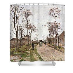 The Road To Saint Cyr At Louveciennes Shower Curtain by Camille Pissarro