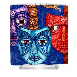 The Sadness The Mistrust And The Fatigue Shower Curtain by Madalena Lobao-Tello