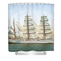 The Sagres Shower Curtain by Verena Matthew