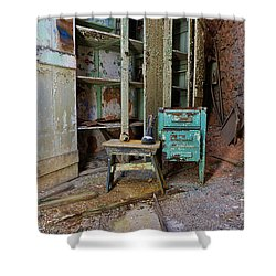 The Shoemaker Shower Curtain by Paul Ward