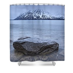 The Shoreline Of Kathleen Lake In Late Shower Curtain by Robert Postma