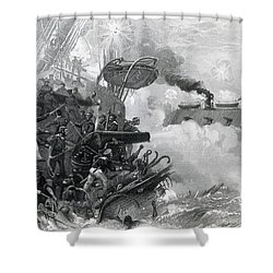The Sinking Of The Cumberland, 1862 Shower Curtain by Photo Researchers