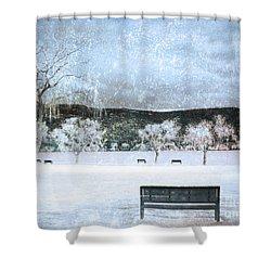 The Snow Storm Shower Curtain by Tara Turner