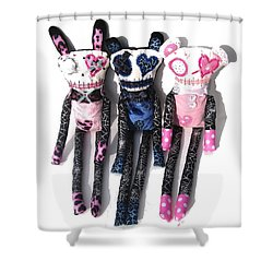 The Spots And Dots Zombie Trio Shower Curtain by Oddball Art Co by Lizzy Love