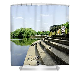 The Steps Of Derby River Gardens Shower Curtain by Rod Johnson