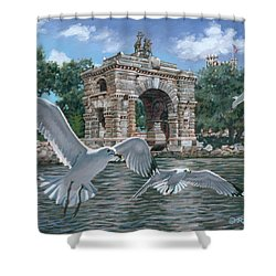 The Stone Arch Shower Curtain by Richard De Wolfe