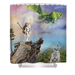 Shower Curtain featuring the painting The Summoning by Lori Brackett