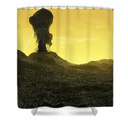 The Surface Of An Infernal Planet Shower Curtain by Fahad Sulehria