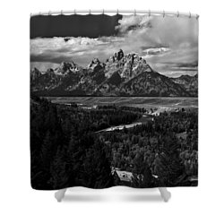 The Tetons - Il Bw Shower Curtain