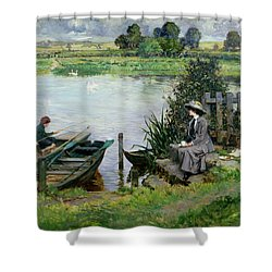 The Thames At Benson Shower Curtain by Albert Chevallier Tayler