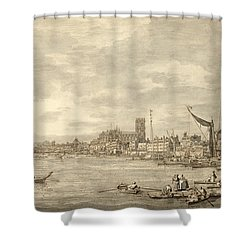 The Thames Looking Towards Westminster From Near York Water Gate  Shower Curtain by Giovanni Antonio Canaletto