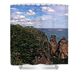 The Three Sisters - The Blue Mountains Shower Curtain by Kaye Menner