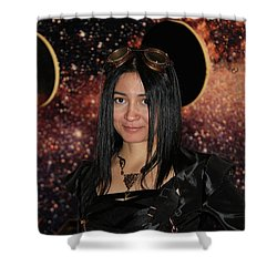 The Time Traveler  Shower Curtain by Mariola Bitner