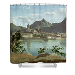 The Town And Lake Como Shower Curtain by Jean Baptiste Camille Corot