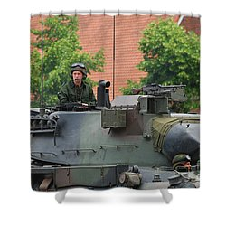 The Turret Of The Leopard 1a5 Main Shower Curtain by Luc De Jaeger