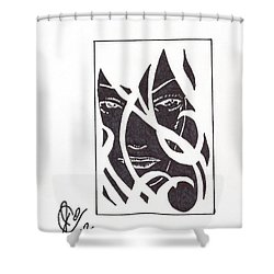 Shower Curtain featuring the drawing The Unkown Woman by Jeremiah Colley