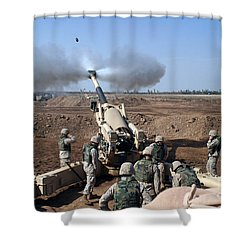 The U.s. Marine Corps M-198 155mm Shower Curtain by Stocktrek Images
