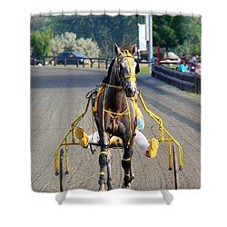 Shower Curtain featuring the photograph The Warm-up by Davandra Cribbie