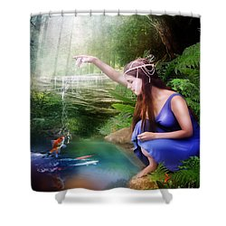 The Water Hole Shower Curtain by Mary Hood