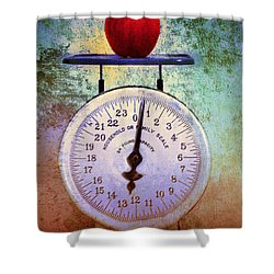 The Weight Of An Apple Shower Curtain by Tara Turner