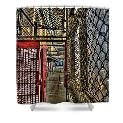 The West Virginia State Penitentiary Cell Hallway Shower Curtain by Dan Friend