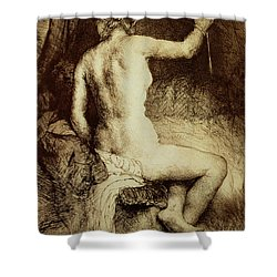 The Woman With The Arrow Shower Curtain by Rembrandt Harmensz van Rijn
