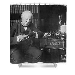 Thomas Edison, American Inventor Shower Curtain by Omikron