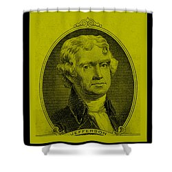 Thomas Jefferson In Yellow Shower Curtain by Rob Hans