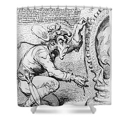 Thomas Paine Caricature Shower Curtain by Photo Researchers
