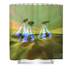 Three Alien Spaceships Steal Shower Curtain by Corey Ford