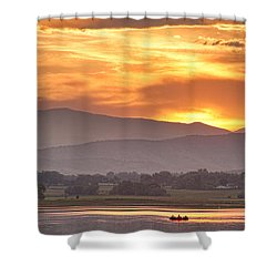Three Belly Boats Enjoying The View Shower Curtain by James BO  Insogna