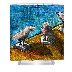 Three Birds Blue Shower Curtain by James Raynor