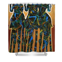 Three Drifters Shower Curtain by Lance Headlee