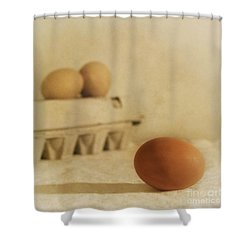Three Eggs And A Egg Box Shower Curtain by Priska Wettstein