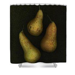 Three Golden Pears Shower Curtain by Deddeda